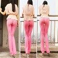 Venda quente mulheres sexy ver através de flare calças brilhantes cor de rosa Sexy Desgaste Causual Capris Fundo Legal Erótico Lingerie Desgaste Do Clube FX1029