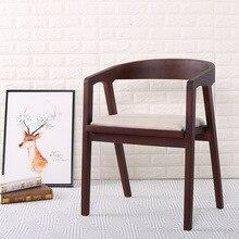 Silla de comedor de madera nórdica Oficina Vintage café restaurante dormitorio estudio Casual Simple con reposabrazos silla trasera