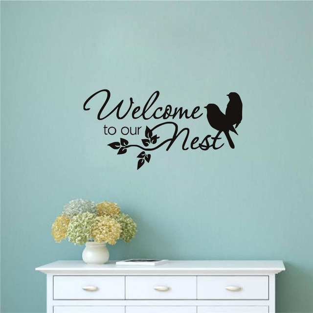 Two Birds Wall Sticker Welcome To Our Nest Vinyl Art Quote Decals For  Living Room Removable