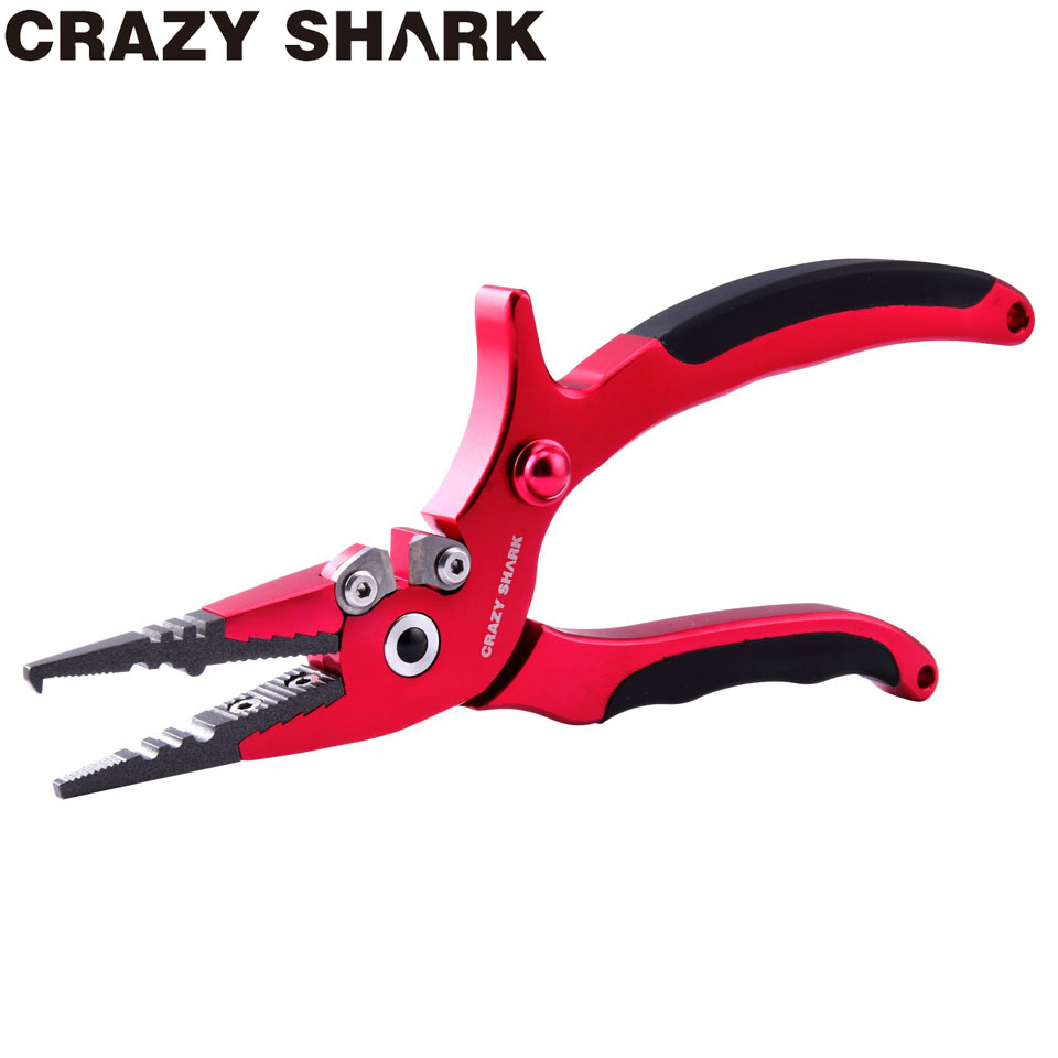 Crazy Shark Aluminium Fishing Pliers Split Ring Cutters Fishing Scissors Multifunctional Hook Remover Line Cutter Tools 19.5cm