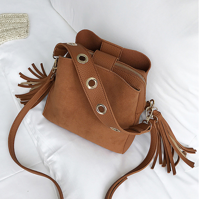2019 Fashion Scrub Women Bucket Bag Vintage Tassel Messenger Bag High Quality Retro Shoulder Bag Simple Crossbody Bag Tote 4