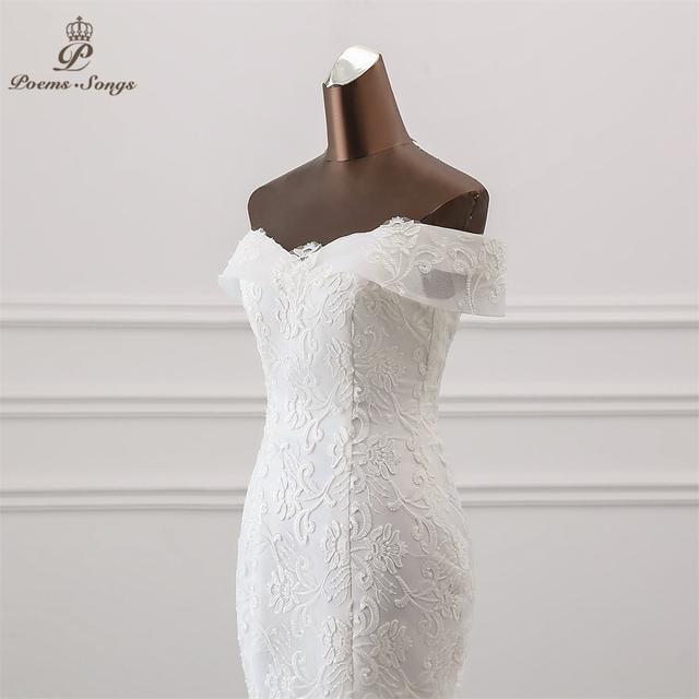 PoemsSongs  2019 new style Boat Neck beautiful sequined lace wedding dress for wedding Vestido de noiva Mermaid wedding dresses 5