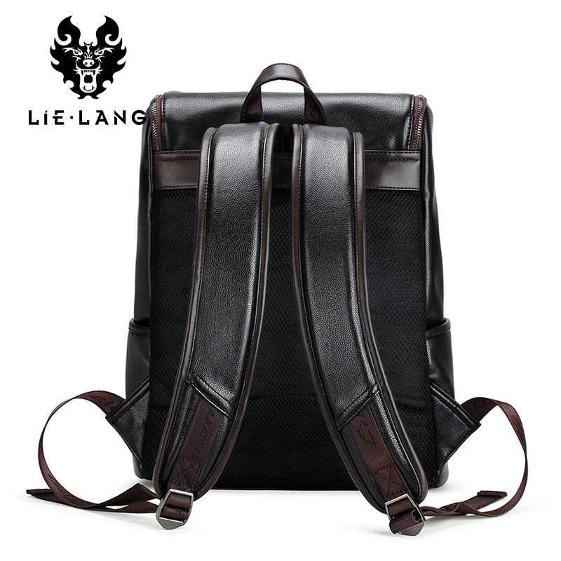 LIELANG бренд рюкзак Для мужчин с внешним зарядным устройством USB, мужской противоугонные школьная сумка из искусственной кожи дорожная сумка Повседневное рюкзак 14-дюймовый ноутбук рюкзак