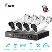 Keeper 4CH 5MP AHD DVR Kit CCTV Camera System 4PCS 5.0MP Security Camera IP66 Outdoor Video Surveillance System APP View