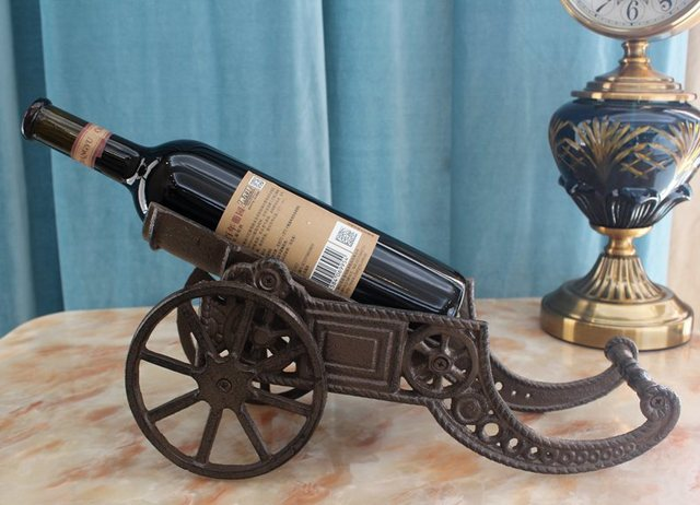 Cast Iron Cannon Wine Bottle Holder Stand Tabletop Rack Wrought Iron