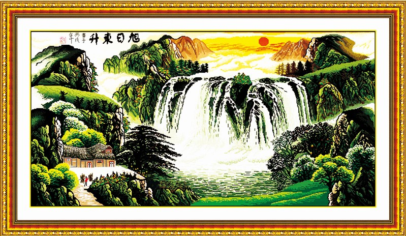 Rising Sun(1) cross stitch kit Chinese mountain river pattern count print canvas embroidery DIY handmade needlework supplies bag