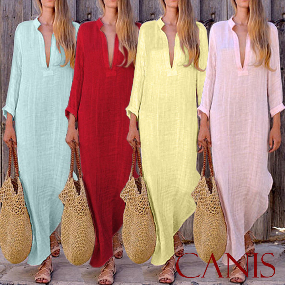 Linen Fashion Women's Boho Long Maxi Dress Lady Party Evening Summer Beach Sundress Women V Neck Long Dress