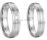 Custom Silver Color Health Titanium Finger Rings Wedding Anniversary Couples Rings Sets