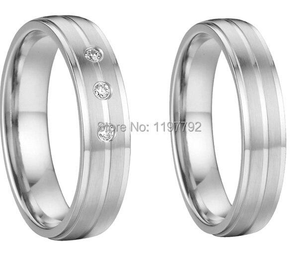 Bagues en titane de santé couleur argent personnalisé anneaux de couples d'anniversaire de mariage ensembles