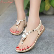 6b4c0009e938a 2018 Women Rhinestone Owl Sweet Sandals Clip Toe Sandals Beach Shoes  Sandalia Feminina(China)
