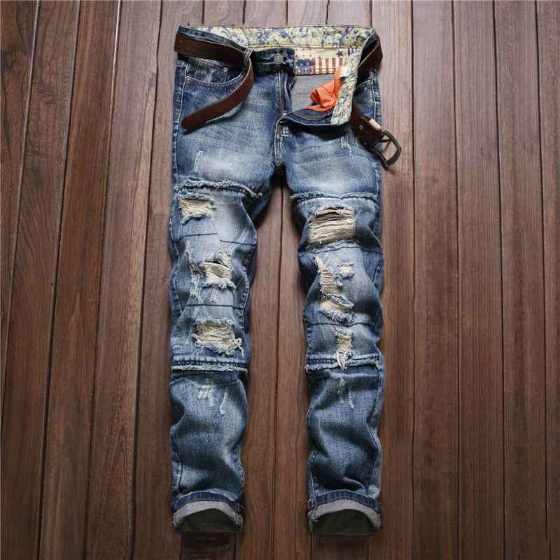 ФОТО #3257 Straight Ripped jeans for men Fashion Slim fit Mens biker jeans Distressed Destroy Wash Hip hop jeans Denim jeans men
