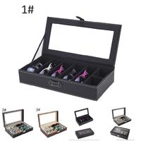 Sunglasses Eyewear Eyeglasses Display Case Box Double Layer Glasses Suitcase with Clear Lid M8694