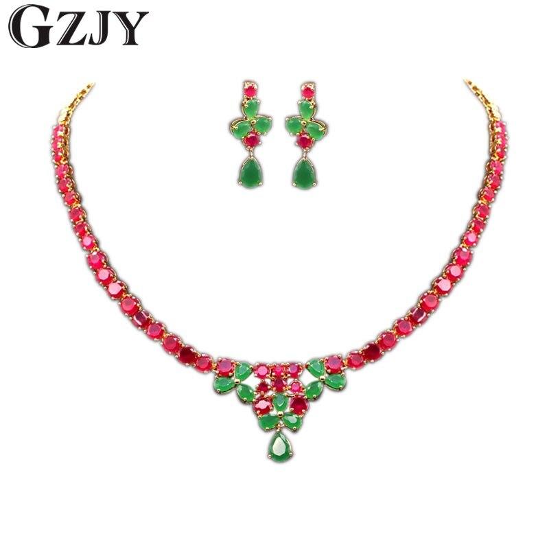 GZJY élégant ensembles de bijoux de mariée or jaune couleur rouge vert AAA Zircon collier de mariage boucle d'oreille bijoux pour les femmes