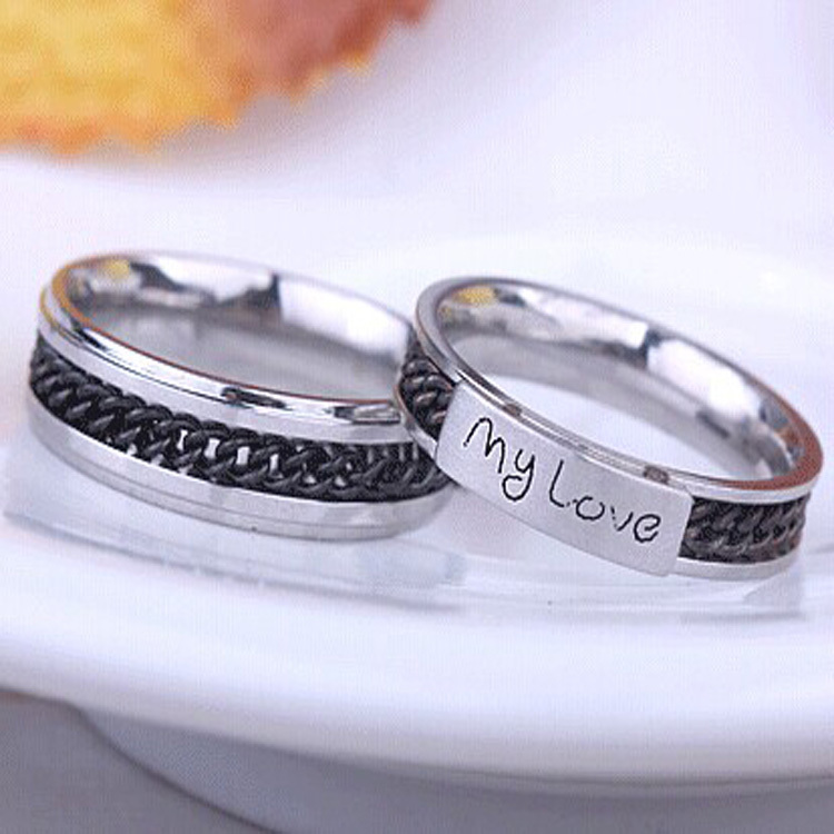 Mini Mixed Batch 316l Steel 4 6mm Wide Chain Nameplate My Love Ring Vintage Punk Gothic Gift Silver Jewelry Note Width In Rings From