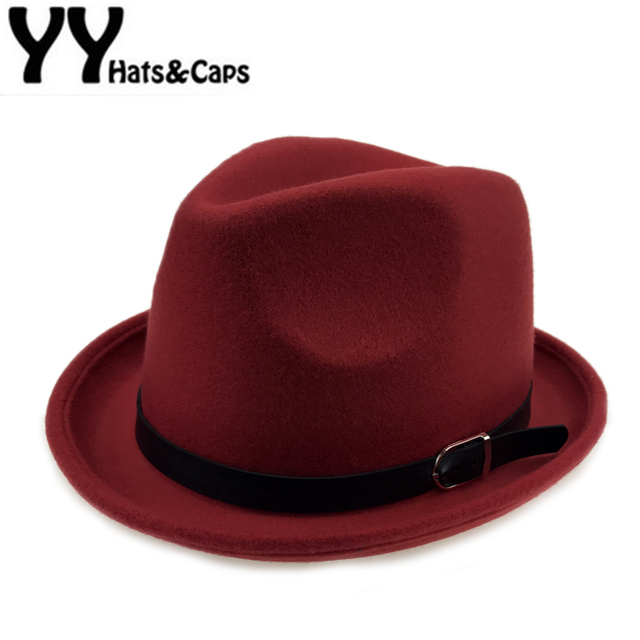 74b2ef96946 Fashion Pure Fedora Caps With Belt Men Jazz Hat Women Trilby Hat Wool  Fedoras Vintage Felt