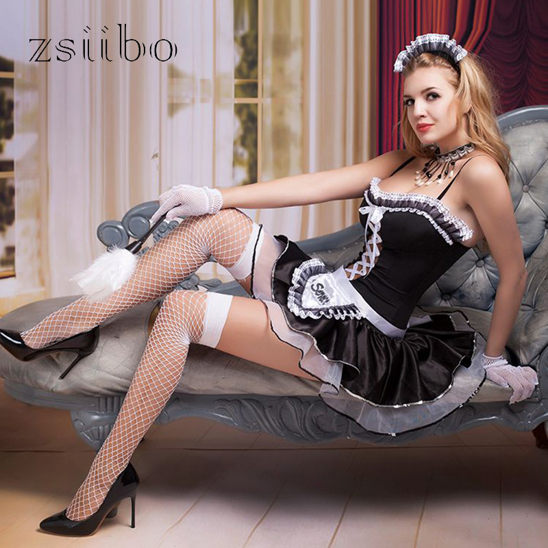 New Halloween Christmas Sexy Hot Room Service Maid Exotic Uniforms Temptation clothing Sexy Lingerie Dress Costumes QQNP01