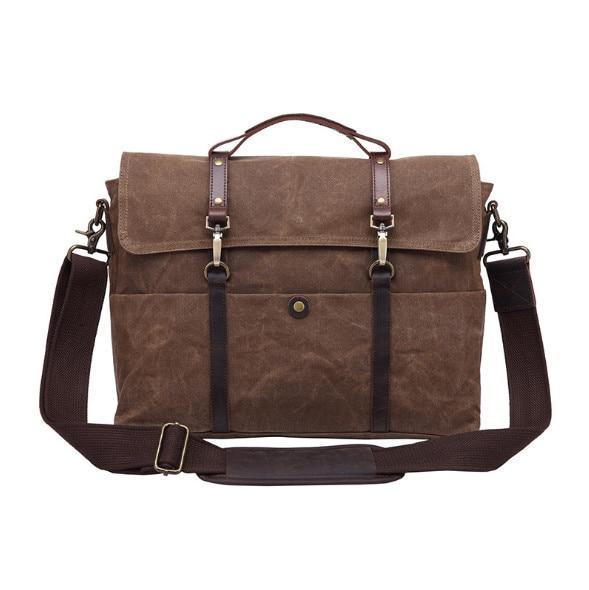 Men's handbag retro men's bag cross section business briefcase documents shoulder Messenger bag 15.6-inch computer bag недорго, оригинальная цена