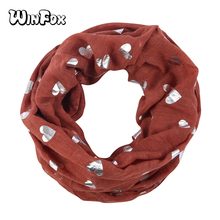 Winfox Fashion Red Black Heart Print Foil Silver Women Circle Loop Infinity Scarves Collar Ring Neck Snood Scarfs For Ladies