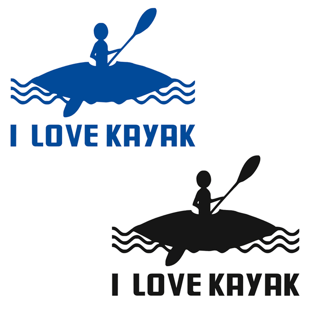 Waterproof i love kayak kayak canoe vinyl stickers boat funny decal car window home car decor