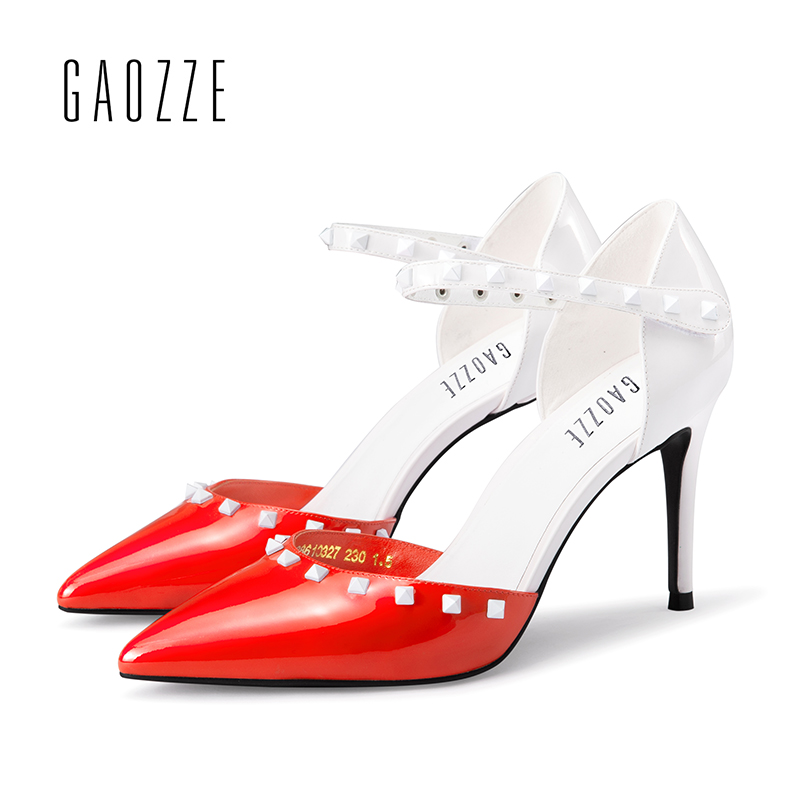 GAOZZE Fashion Rivet Pointed Toe Patent Leather Sexy Thin High Heels Women Pumps Shoes Mixed Color Buckle Strap Pumps Sandals 2018 women high heel party pumps wedding sexy shoes lady thin heels 9 cm ankle buckle strap pointed toe rivet nightclub fashion