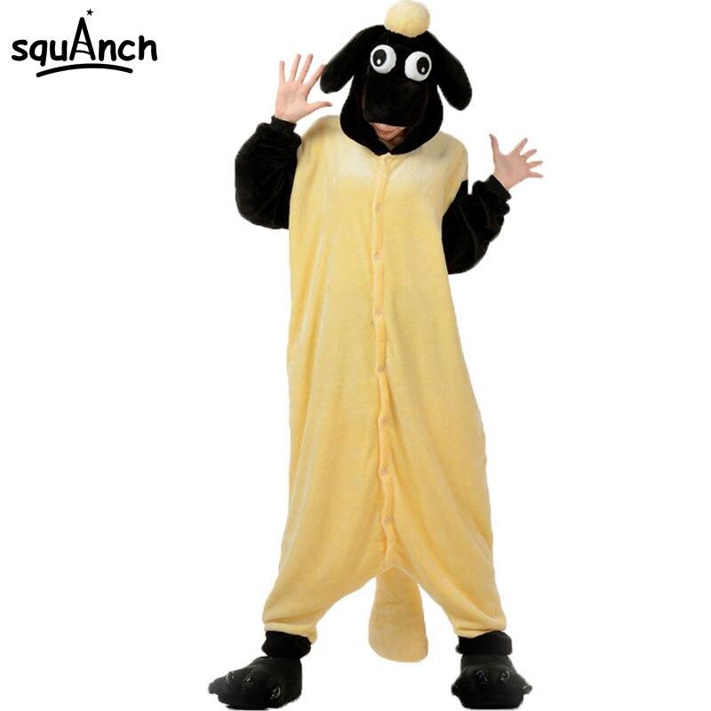 Animal Onesie Adult Funny Shaun Sheep Pajama Couple Sleepwear Winter Warm Jumpsuit Cute Onepiece Women Cartoon Suit Kigurumis
