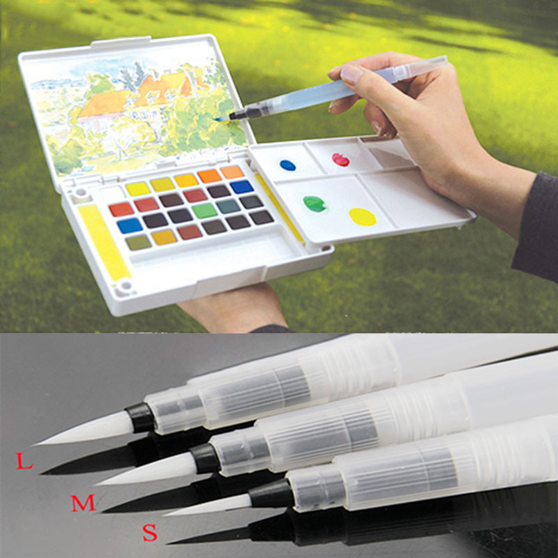 где купить 1PC Refillable Water Brush Ink Pen for Water Color Calligraphy Painting Illustration Pen Office Stationery дешево