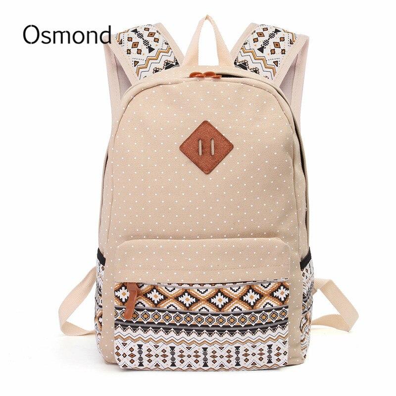 Osmond Canvas School Bags For Teenagers Dot Printing Backpack Girl Cute Shoulder Bag Large Casual Backpack Women Rucksack Bags