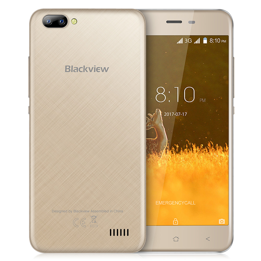 Blackview A7 3G Smartphone Android 7.0 5.0 inch IPS Screen MTK6580A 1.3GHz Quad Core 1GB+8GB 0.3MP+5.0MP Dual Rear Cameras