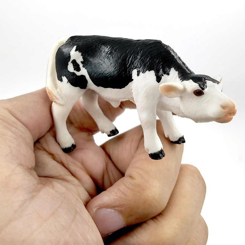 Fazenda de aves kawaii simulação mini leite vaca gado touro bezerro plástico modelo animal estatueta figuras brinquedo decoração da casa presente para crianças