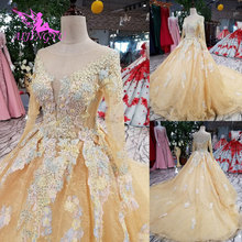 AIJINGYU Long Short With Sleeves Gowns Wedding Dresses