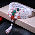 Lovers Bracelets Natural White Agate 108 Mala Beads 6mm Red Crystal Multi Color Lucky Jade Bracelet Jewelry Accessories