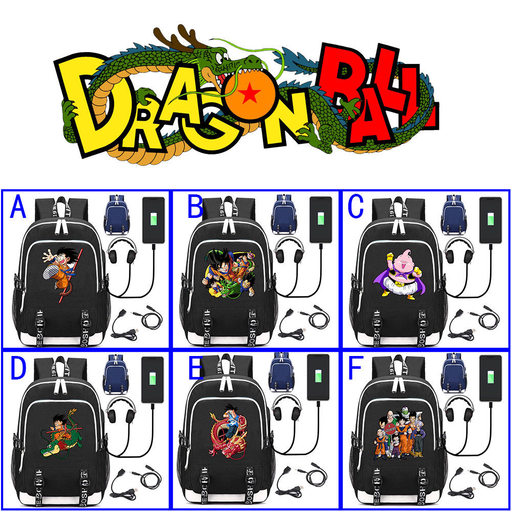OHCOMICS Anime Dragon Ball Z Multifunction External USB Charging Canvas Backpack For Children Teenagers Travel Laptop Bags