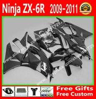 Обтекатели для Kawasaki 2009 2010 ZX6R запчасти 09 10 11 12 черный кузов зализа комплекты 7 подарок XX74