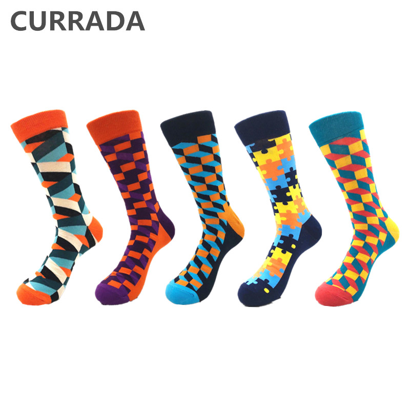 5pairs/lot Brand Quality Men Socks 2019 Hot Sale Fashion Casual Crew Compression Socks Combed Cotton Colorful Happy Funny Sock