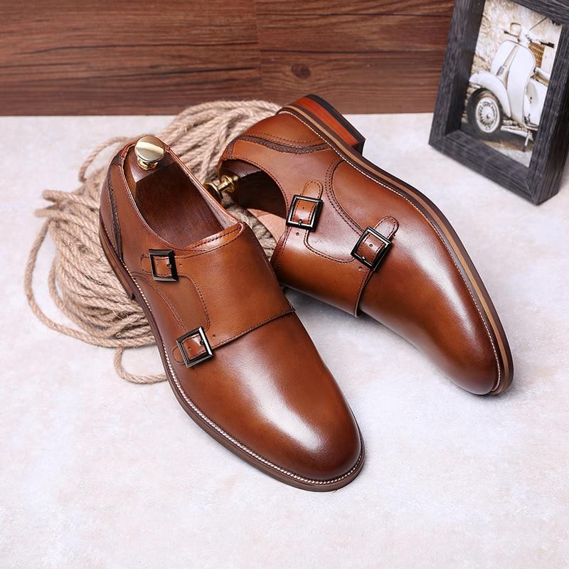 DESAI Brand Men Shoes Genuine Leather Black Brown Formal Dress Double Monk Buckle Straps Wedding Brogues