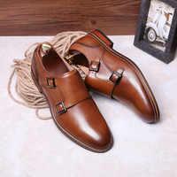 DESAI Brand Men Shoes Genuine Leather Black Brown Formal Dress Double Monk Buckle Straps Wedding Brogues Shoes Zapatos Hombre