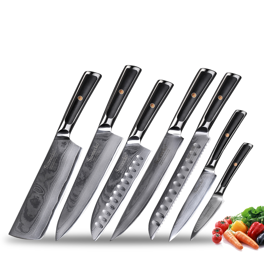 Sunnecko Japanese VG10 Damascus Steel Kitchen Knives Set Gift Box Chef's Razor Sharp Slicing Utility Paring Bread Santoku Knife