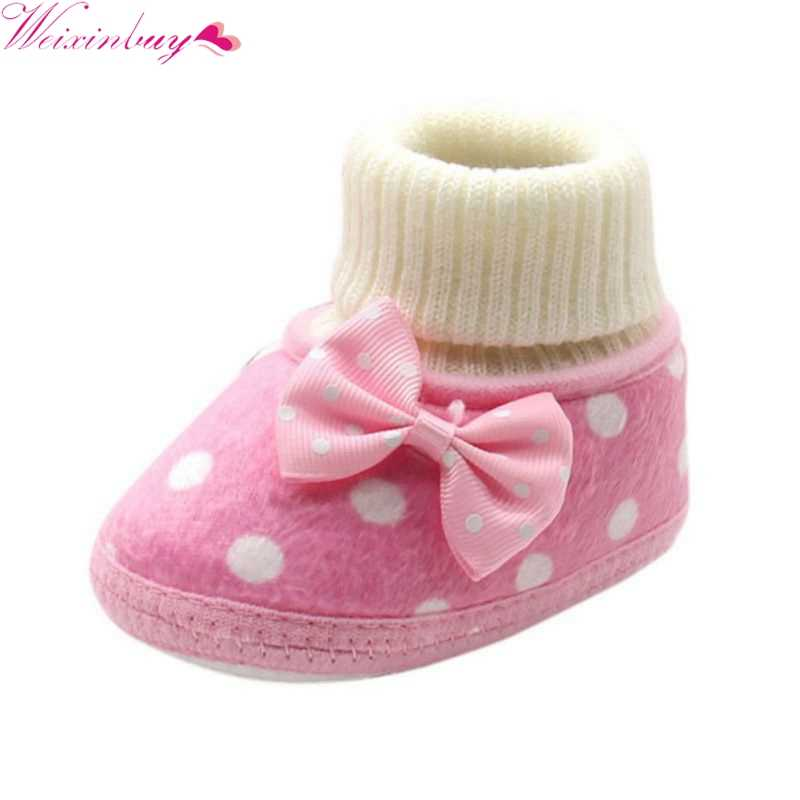 Baby Shoes Newborn Baby Boots 2018 New Winter Girl Bowknot Fleece Snow Boots Booties Infant White Princess Crib Shoes M2