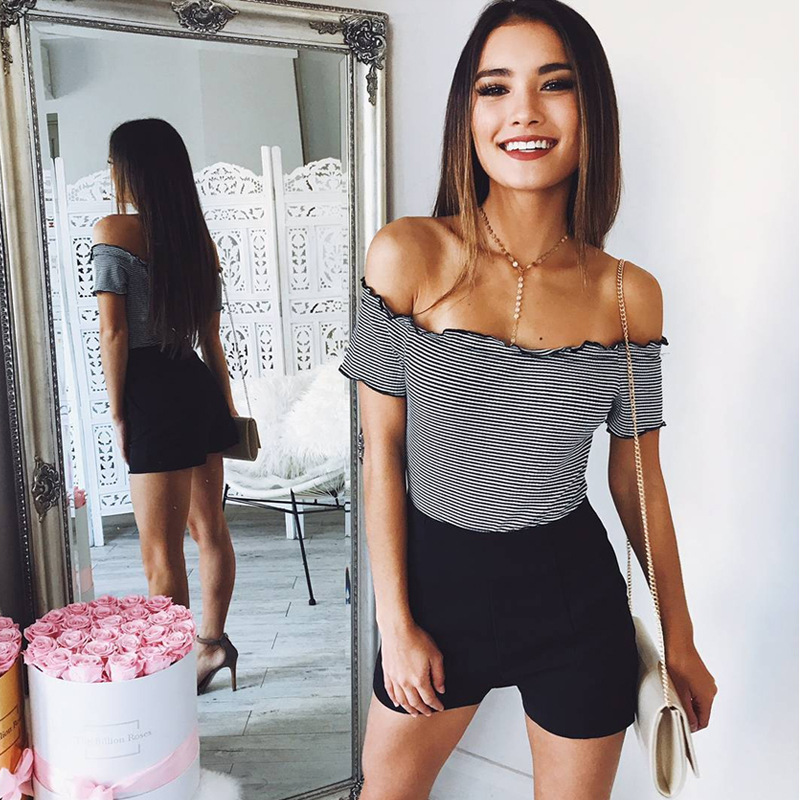 New Womens Sexy Striped Strapless Long-sleeve Tshirt for 2018 Fashion Ladies Shoulder Off Stripe Shor Tops Summer T-shirt