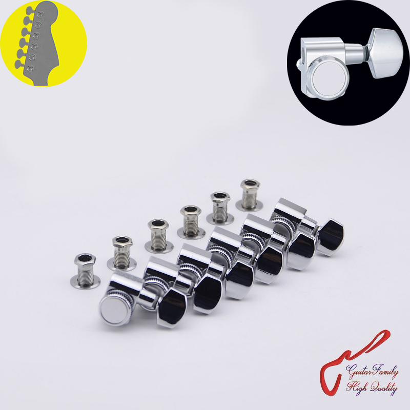1 Set GuitarFamily  6 In-line No Screw  Locking Guitar Machine Heads Tuners  Chrome ( #0255 ) MADE IN TAIWAN 1 set guitarfamily 6 in line kluson vintage guitar machine heads tuners nickel made in korea
