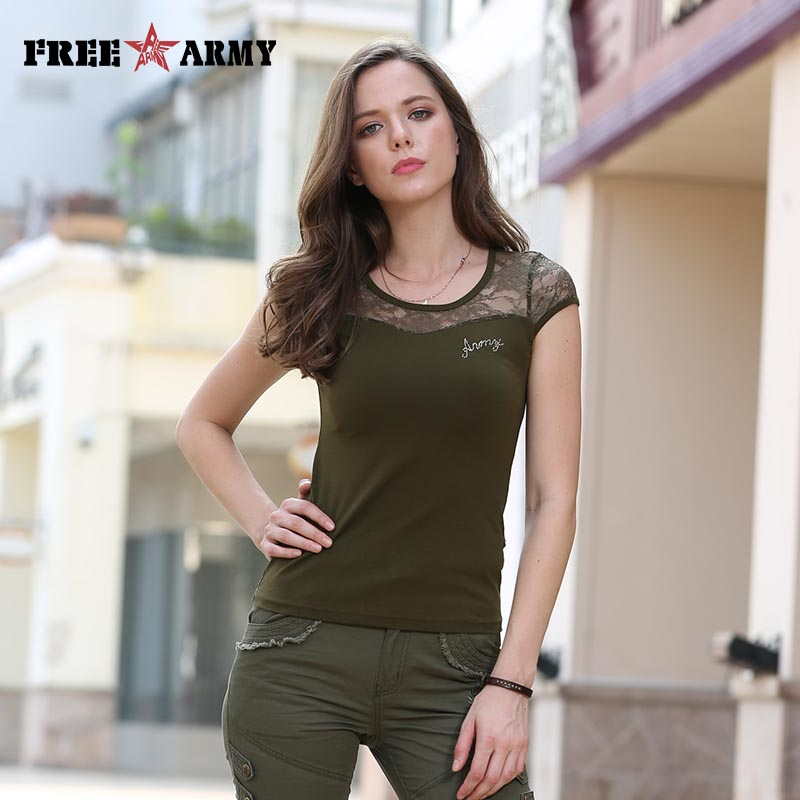 FreeArmy Brand Summer Women's Tops Tees Fashion Sexy Army Green T Shirts With Lace Patchwork Design Women's Clothing Breathable