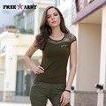 Freearmy Marca Mujeres Del Verano Remata camisetas Atractivas de la Manera Verde Del Ejército Camisetas Con Diseño Del Remiendo Del Cordón Ropa de Mujer Gs-8508A