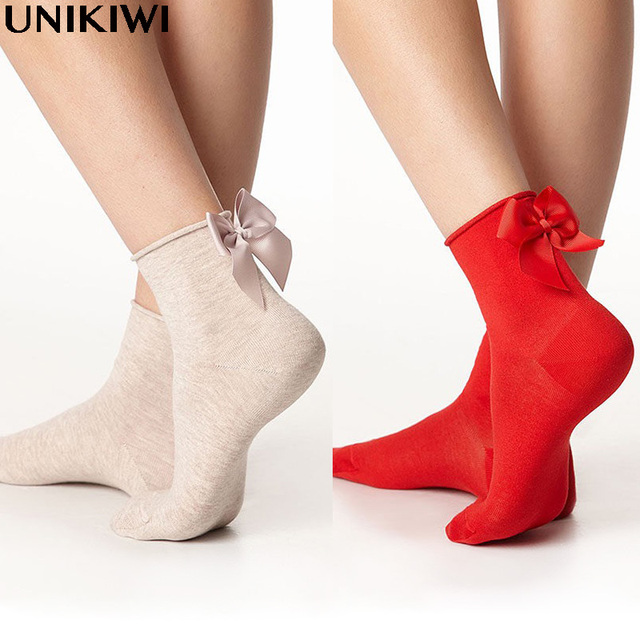 21 Colors.Chic Streetwear Women's Lovely Candy Color Bow Socks.Casual Female Hit Colors Short Socks.Ladies Bow knot Sox.C-0270