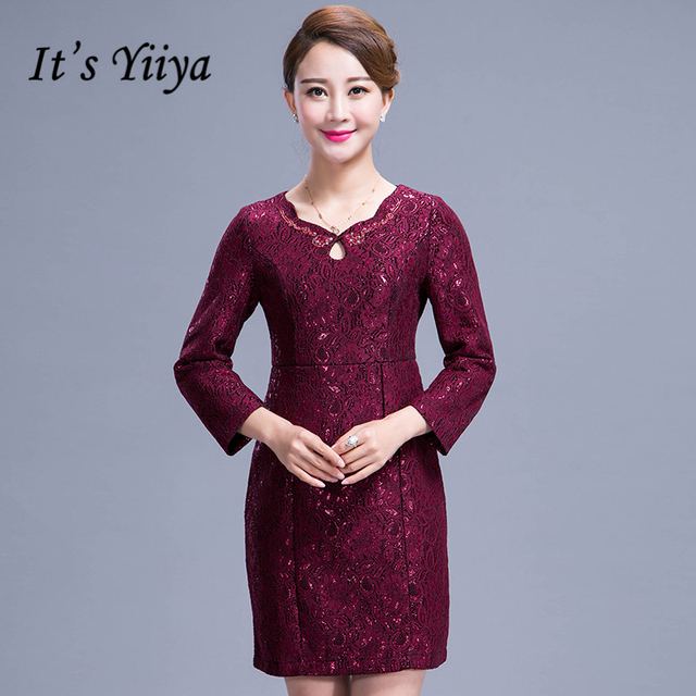 be509463a39 It s Yiiya Mother of the Bride Dresses Full Sleeve Lace Slim Fashion  Designer Plus Size Elegant Mother Dress M027