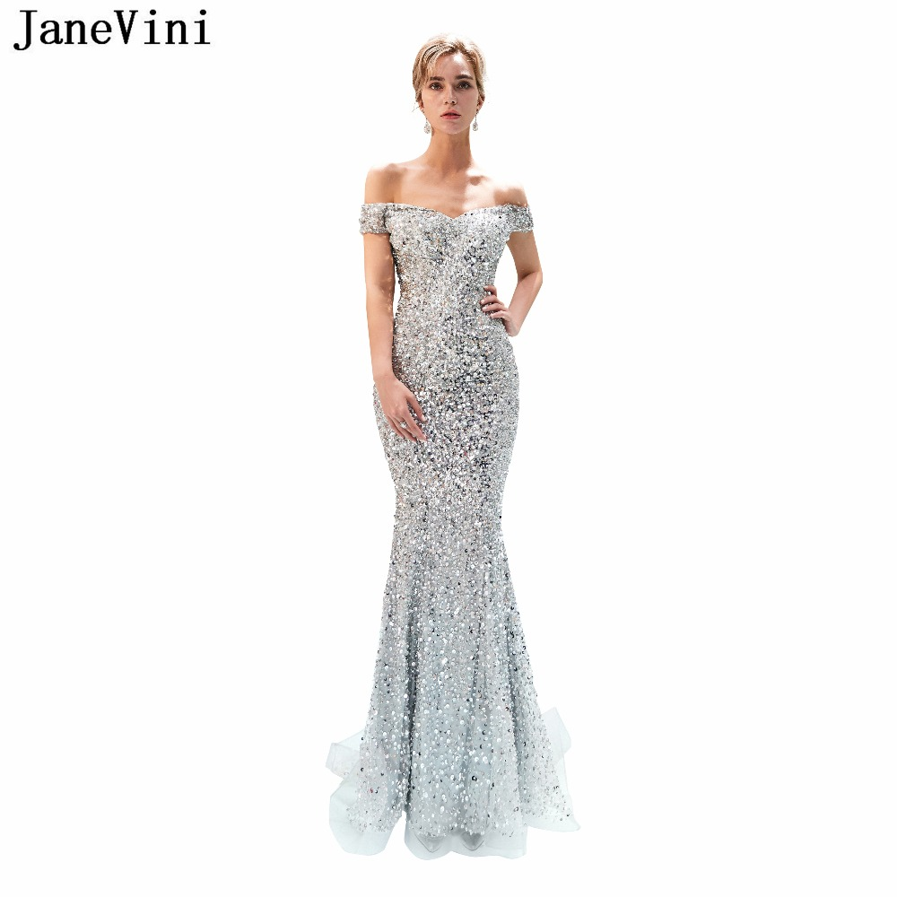 JaneVini Luxury Sequined Silver Long   Bridesmaid     Dresses   Off the Shoulder Short Sleeve Hollow Back Mermaid Tulle Red Carpet   Dress