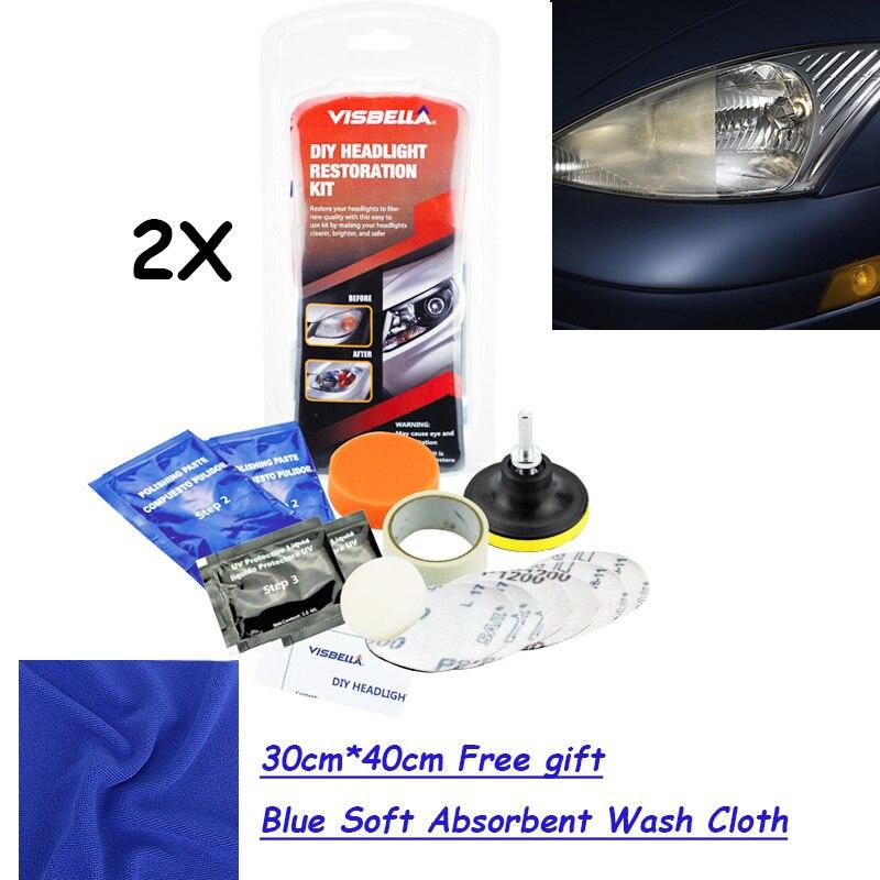 Visbella 2 kits/lot Scheinwerfer Aufheller Kit DIY scheinwerfer restaurierung mit 30 cm * 40 cm FREIES GESCHENK blau weichen, saugfähigen waschen tuch