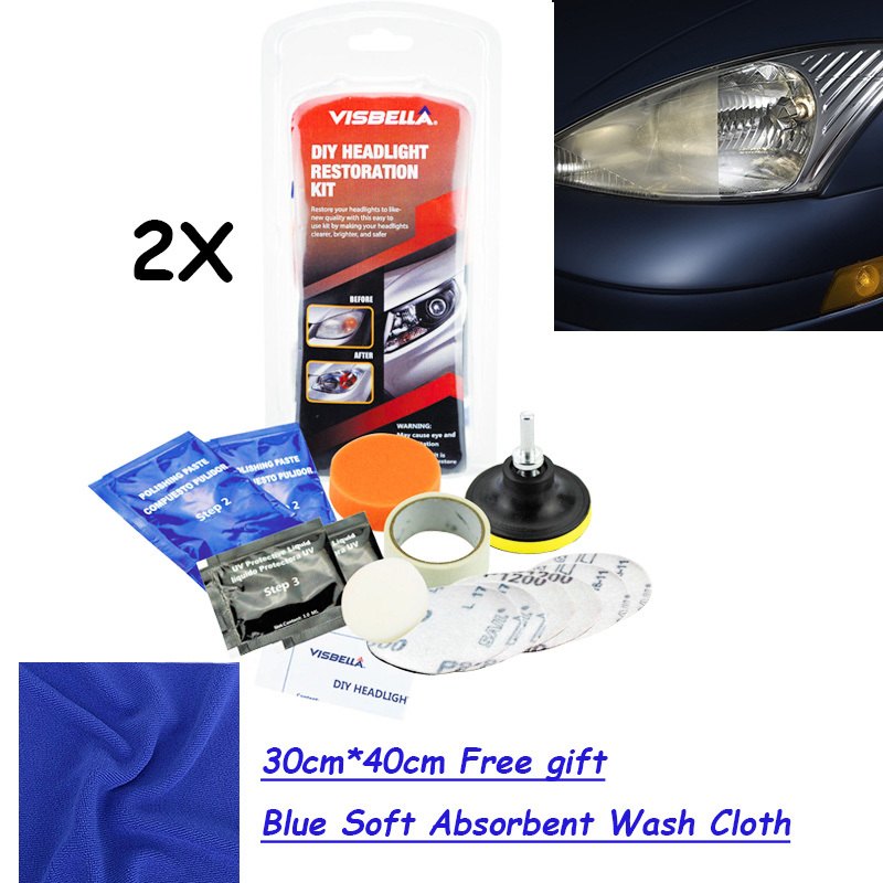 VISBELLA 2kits/lot Headlamp Brightener Kit DIY Headlight Restoration With 30cm*40cm FREE GIFT Blue Soft Absorbent Wash Cloth