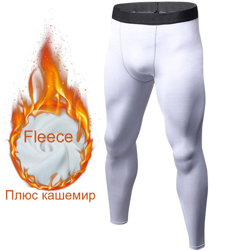 Men's sports leggings thermal Compression tights gym trousers elastic yoga fleece legging sportswear pantyhose add wool leggings