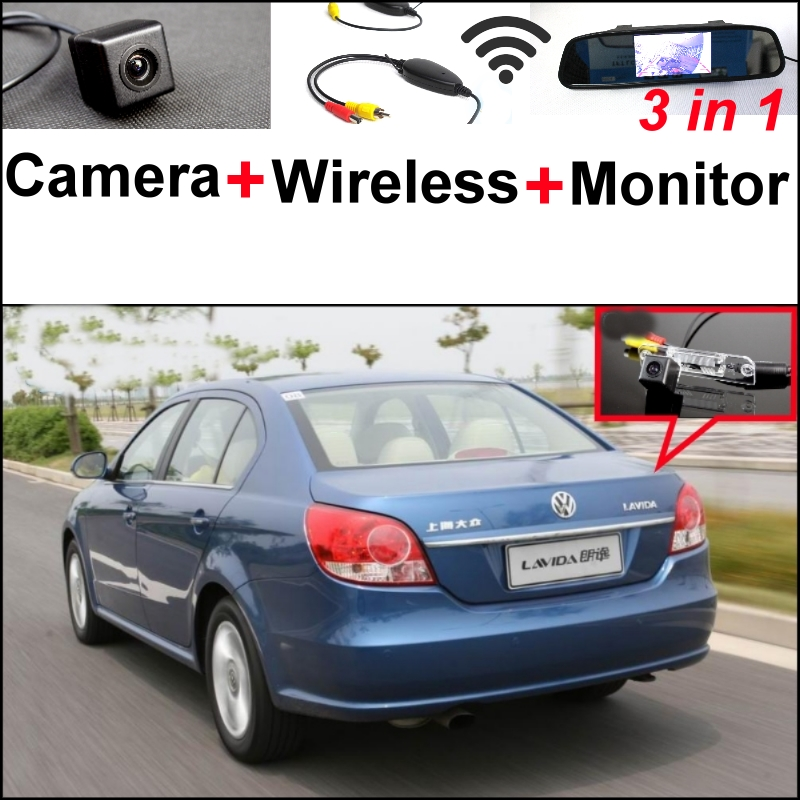 3 in1 Special Rear View Wifi Camera + Wireless Receiver + Mirror Monitor Easy Parking System For Volkswagen VW Lavida 2008~2011 wireless pager system 433 92mhz wireless restaurant table buzzer with monitor and watch receiver 3 display 42 call button