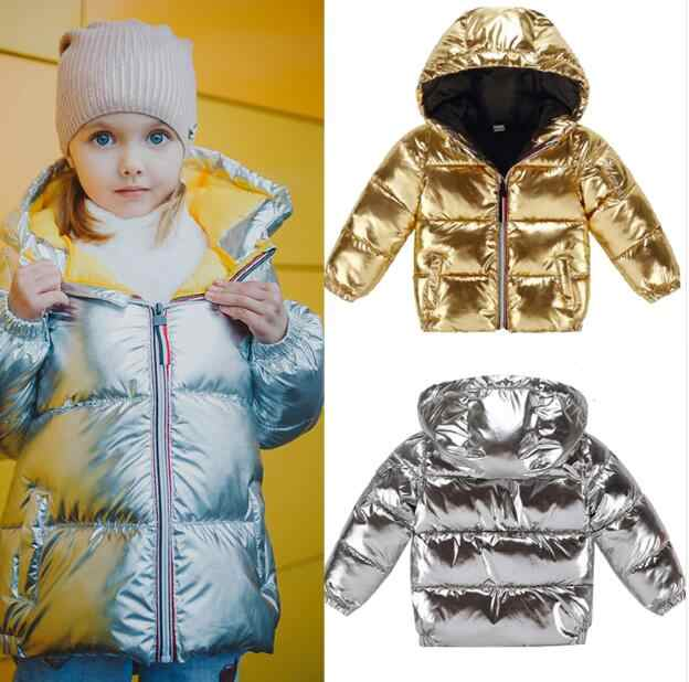 Children winter jacket for kids girls silver gold black Boys Casual Hooded Coat Baby Clothing Outwear kids Parka Jacket snowsuit